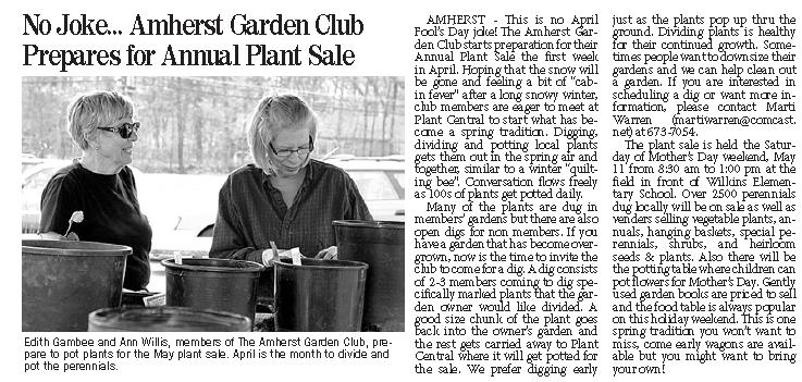 amherst citizen plant sale