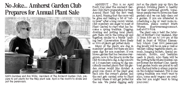 amherst citizen plant sale