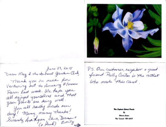the agc recently received this sweet note from our friends at the amazing flower farm thanking us for the recent visit to their nursery which was indeed