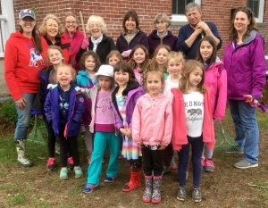 Girl scouts help at Brick School